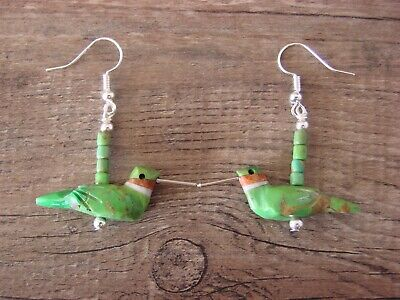 Hand Carved Green Mohave Turquoise Hummingbird Fetish Earrings by Matt Mitchell!