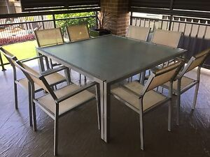 8 Seat glass table outdoor setting Penrith Penrith Area Preview