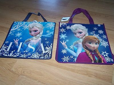 Lot of 2 Disney Frozen Tote Halloween Bag Party Favor Anna Elsa Blue Purple New