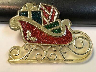 1985 Hallmark Vintage Christmas Plastic Santa Claus Sleigh Brooch Pin