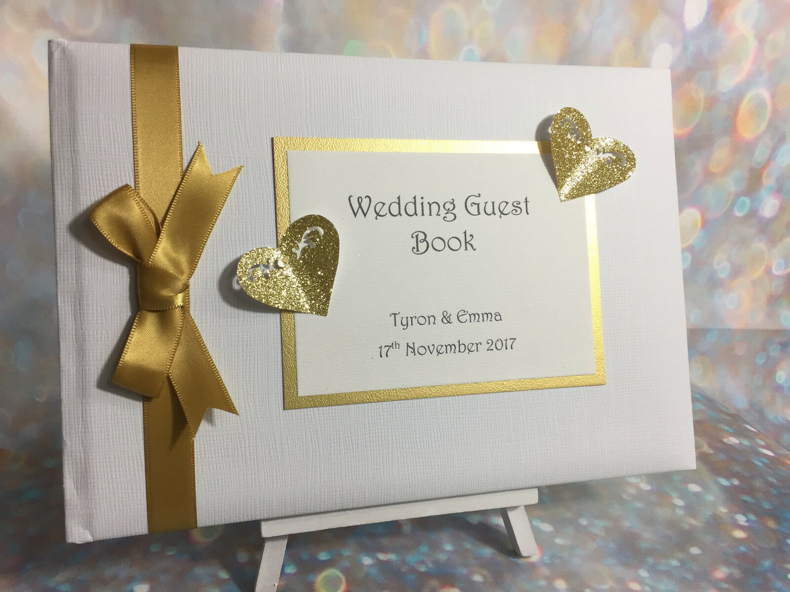 Personalised Glitter Heart Wedding Guest Book / Anniversary / Birthday