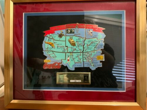COCA COLA 1996 OLYMPIC TORCH RELAY ACROSS THE USA Pin Set Framed LE 133/1996