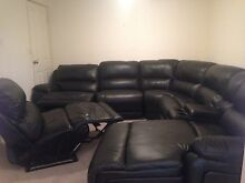 Large leather lounge Nick Scali, black 7 piece, 2 recliners South Penrith Penrith Area Preview