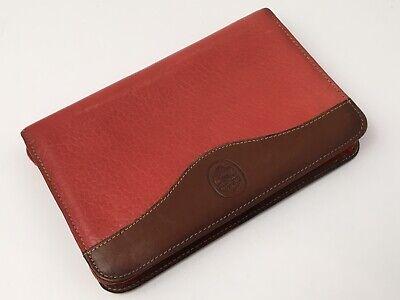 Vintage Mundi Red Pebbled Leather Notebook Zip Around Pen Excellent 7.5 Usa