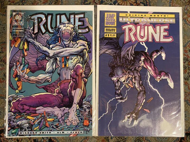 Rune 0 & 1 Malibu Ultraverse NM Or Better 1st App Rune Rare Hard To Find Venom