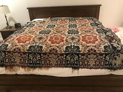 "Antique Jacquard Coverlet Blanket Bedspread 4 Color Hand Woven 88"" x 75"""