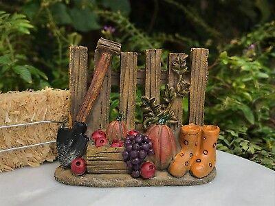 Miniature Dollhouse FAIRY GARDEN ~ Mini HALLOWEEN Fall Fence with Pumpkins ~ NEW - Fairy Garden Halloween Decorations