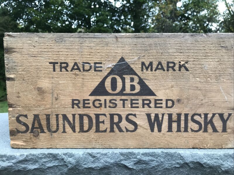 Vintage Wood Scottish Saunders WHISKY OB Alcohol, Scotch CRATE