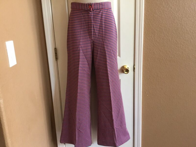 Vintage 60's 70's Bell Bottom High Waisted Polyester Pants Red/White/Blue