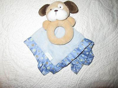 Carter's Dog Rattle & Paw print Security Blanket/Lovey