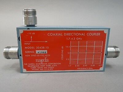 Narda 3043b-10 Coaxial Directional Coupler 1.7-4.2 Ghz Used