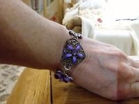 Brand Silver Tone Bracelet With Purple Stones And Gift Box -  - ebay.co.uk