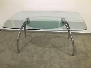 Glass Dinning Table seats 6 with chrome legs Pyrmont Inner Sydney Preview