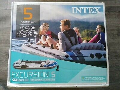 Intex 68325EP Excursion 5 Person Boat Set NEW IN HAND UNOPENED