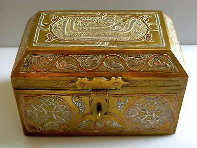 Fine Antique Cairoware Damascene Silver & Copper Inlaid Brass Box Circa 1900