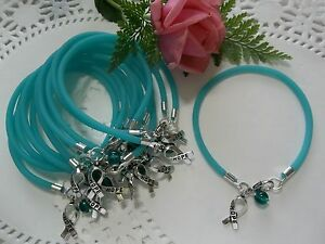 1 Dz Ovarian Cancer Trigeminal Neuralgia Pkd Awareness Bracelets Teal Round Bead