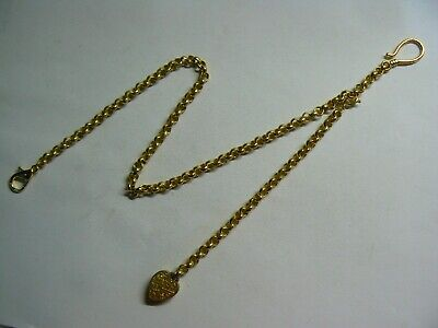 Elegant Gold Plated Belcher Pocket Watch Chain & Vintage Gold Plated Heart Fob