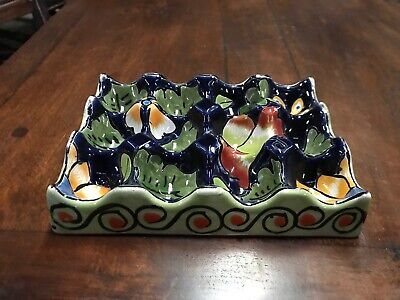 Talavera Plate Deviled Egg Holder Platter Mexican Folk Art Pottery Dish 12 -