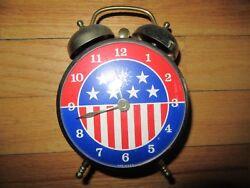 9D/VINTAGE LUX ALARM CLOCK/ROBERT SHAW/AMERICANA/STARS/STRIPES/METAL/TWIN BELLS!