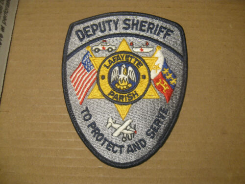 LAFAYETTE PARISH LOUISIANA SHERIFF POLICE PATCH(WITH AIRPLANE,BOAT,POLICE CAR)