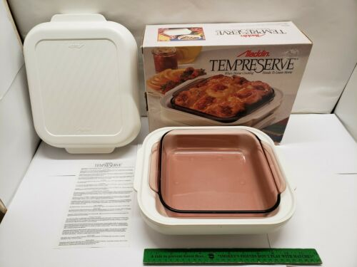 VINTAGE ALADDIN TEMPRESERVE NEW IN BOX with INSTRUCTIONS ROSE PYREX