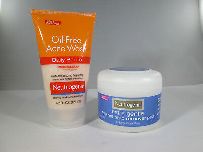 Daily Eye Makeup Remover - Neutrogena Eye Makeup Remover Pads - 30 & Acne Wash Daily Scrub - 4.2 oz [HB-N]