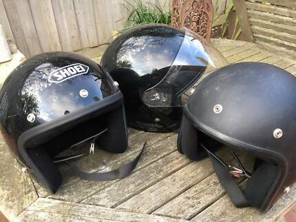 3 open face bike helmets - good condition