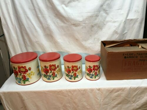 Vintage 1940s 50s Tin Canister 4PC Nesting Set Floral Poppy Kitchen Ware