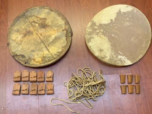 """ANTIQUE SNARE DRUM PARTS - ONE LOT, 2 ORIG HEADS, 1/4"""" ROPE, ASSORTED PULLS"""