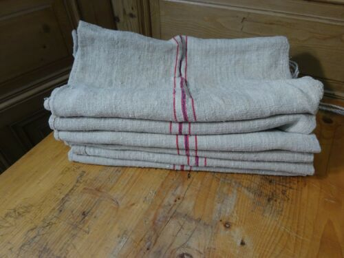 Antique European Feed Sack GRAIN SACK  Blue & Red Stripes # 9524