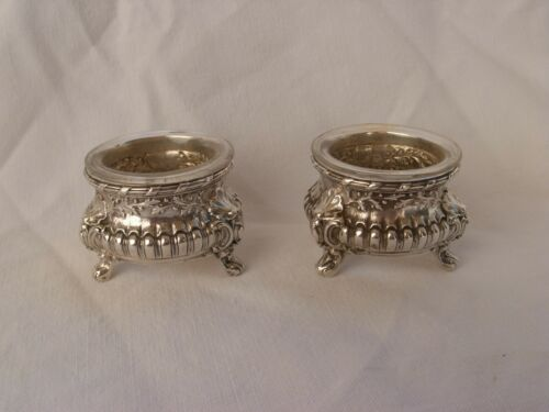 PAIR OF ANTIQUE FRENCH STERLING SILVER CRYSTAL SALT CELLARS,LATE 19th CENTURY