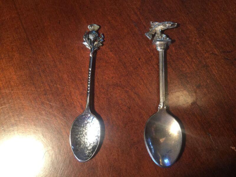 2 Vintage Collectible Spoons Britain & Scotland Ornate