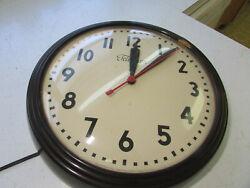 VTG Lg TELECHRON NICE WALL CLOCK BAKELITE Rare 1H1312 WORKS Great -Quiet, RETRO