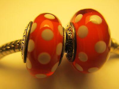 Set of 2 Authentic Pandora Silver 925 Ale Disney Minnie Signature Bead Charm New