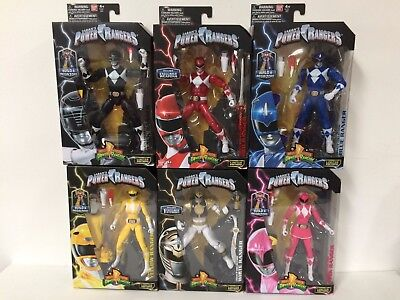 Set Of 6 New Power Rangers Legacy Lot Red Metallic Mmpr Mighty Morphin Megazord