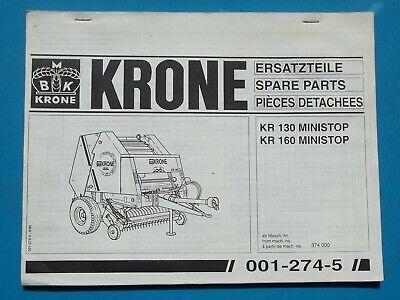 1995 Krone Round Hay Baler Parts Manual Kr 130-160 Ministop 001-274-5 595 Issue