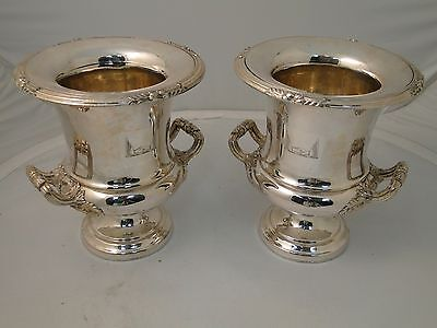 PAIR OF WINE COOLERS SILVER PLATED OLD SHEFFIELD 1850, CRESTED HAND MADE ANTIQUE