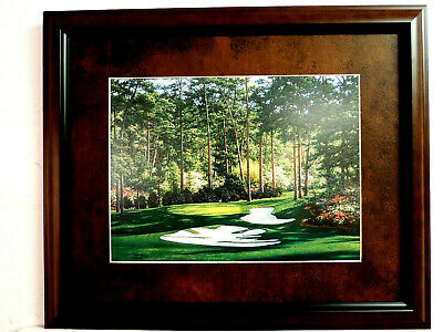 GOLF PICTURE THE 10TH HOLE AT AUGUSTA LARRY DYKE  MATTED FRAMED 13X16