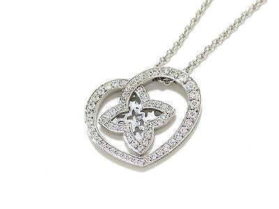 Authentic LOUIS VUITTON Pendentif Coeur PM 18K White Gold*Diamond Necklace +Case