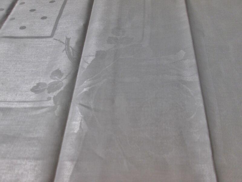 Antique Linen Damask Tablecloth Dots Satin Bands Big Rose in Each Corner Unused