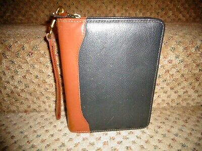 Franklin Covey Usa Black Verona Tan Aniline Leather Compact Zip Planner Strap