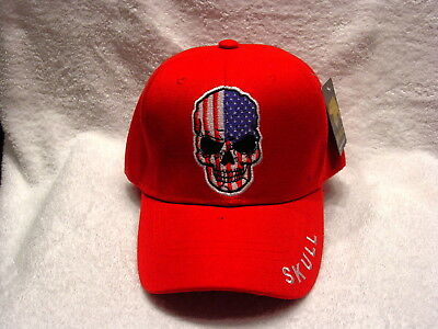 Red Skull Baseball (SKULL AMERICAN FLAG BASEBALL CAP HAT ( RED ))