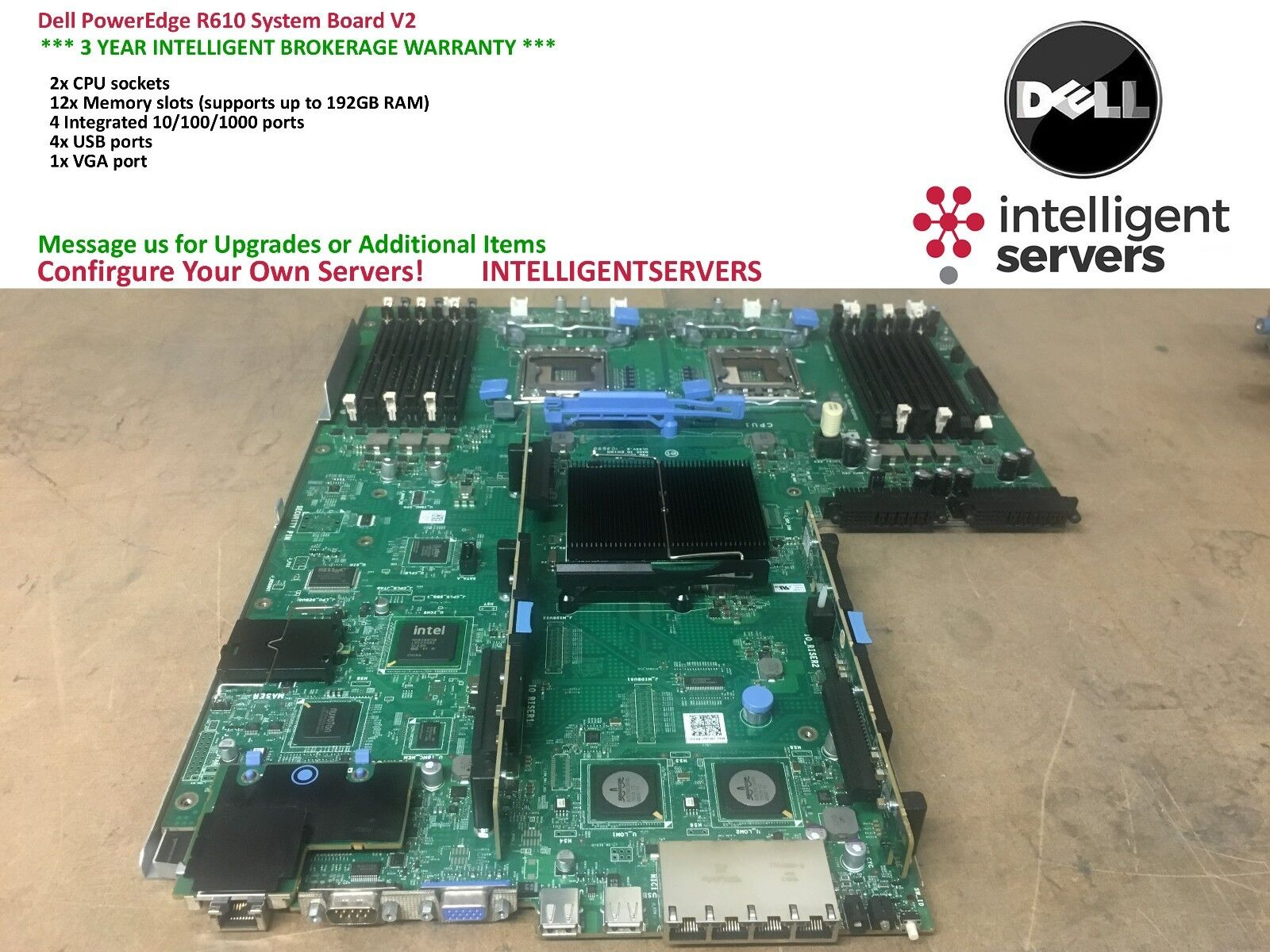 Details about Dell PowerEdge R610 System Board V2 ** F0XJ6 **