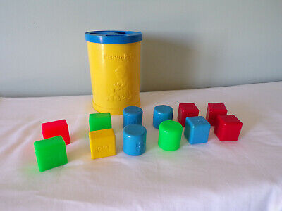 Vintage Fisher-Price Shape Sorter Bucket + 12 shapes -