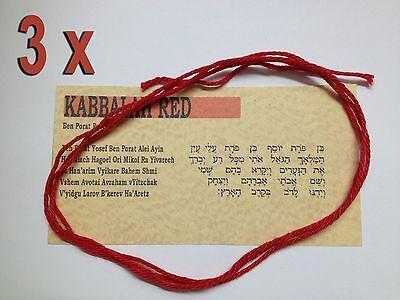 3 KABBALAH RED STRING Hilo Rojo Filo Rosso KABALAH bracelet evil eye...