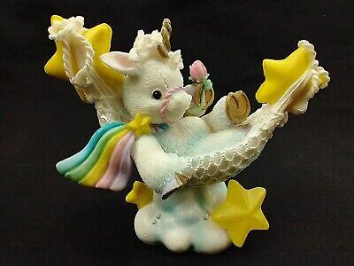 Vintage Enesco 1995 Unicorn Figurine Starlight Starbright Rainbow Hammock Cloud