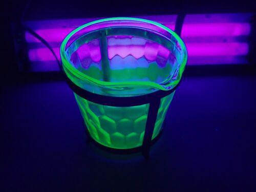 VINTAGE Green Depression Uranium  Hex Optic Ice Bucket - Jeannette Glass