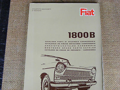 Fiat 1800 B Body Parts Parts Manual from Fiat . Printed in 5 languages