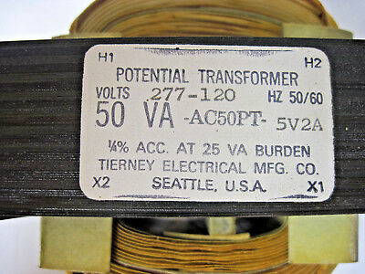 Tierney Electrical Mfg Co Potential Transformer 50VA 50/60 HZ Volts 277-120