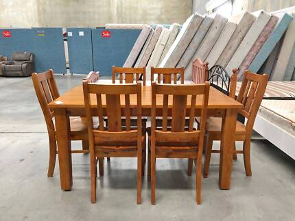 TODAY DELIVERY STRONG SOLID WOODEN Dining Table 6 Chairs 7pcs